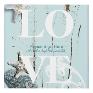 Elegant wood BLue Seashells Beach Wedding Panel Wall Art