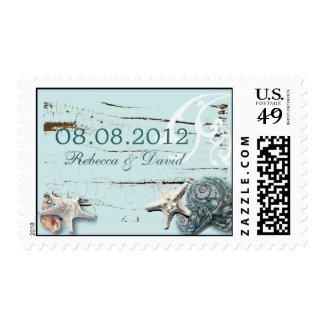 Elegant wood BLue Seashells Beach Wedding Postage Stamps