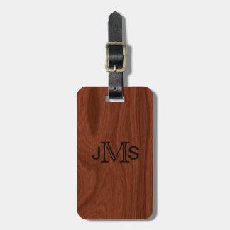 Elegant Wood Grain | Custom Monogrammed Initials Luggage Tag
