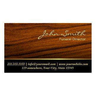 Elegant Wood Grain Funeral Business Card