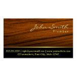 Elegant Wood Grain Plumber Business Card