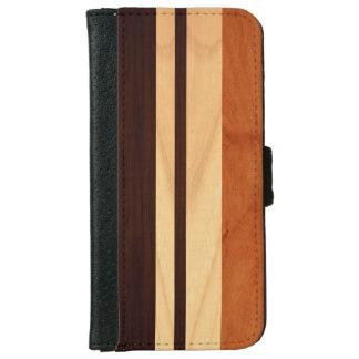 Elegant Wood Stripes Wood Grain Look iPhone 6 Wallet Case