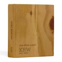 elegant wood texture /rustic to-personalize mini binder