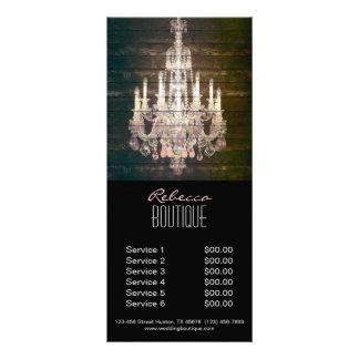 elegant woodgrain chandelier vintage promotional custom rack card