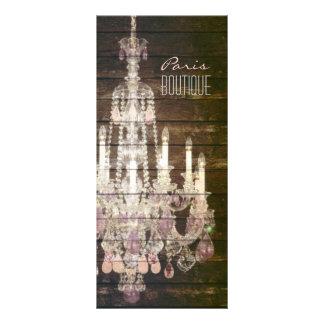 elegant woodgrain chandelier vintage promotional custom rack cards