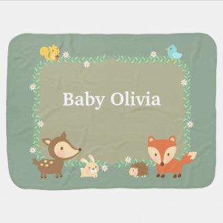 Elegant Woodland Animal For Babies Receiving Blanket