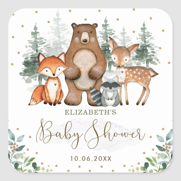 Elegant Woodland Animals Forest Greenery Gold Square Sticker