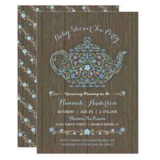 Elegant Woodland Teapot Baby Boy Shower Invite