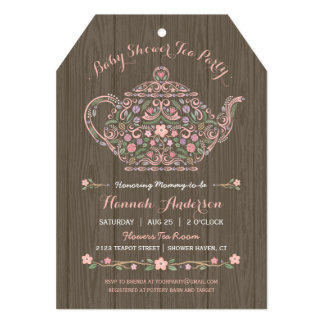 Elegant Woodland Teapot Baby Girl Shower Invite