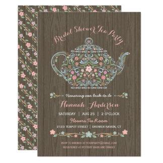 Elegant Woodland Teapot Bridal Shower Invitation