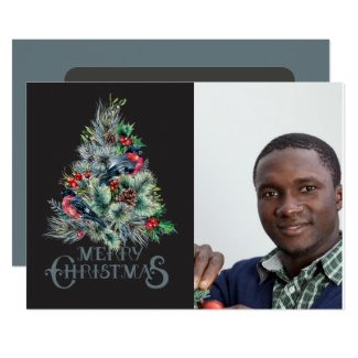 Elegant Woodland Tree/ Photo Christmas Card