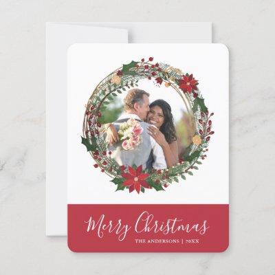 Elegant Wreath Merry Christmas Custom Photo Holiday Card