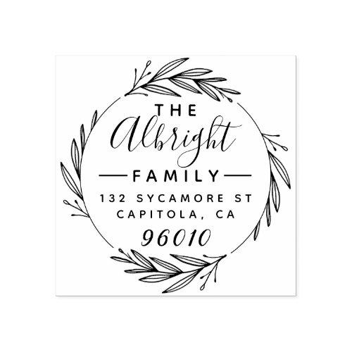 Elegant Wreath  Script Family Name Return Address Rubber Stamp