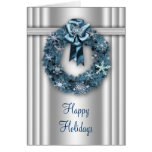 Elegant Wreath Silver and Blue Corporate Christmas Greeting Cards