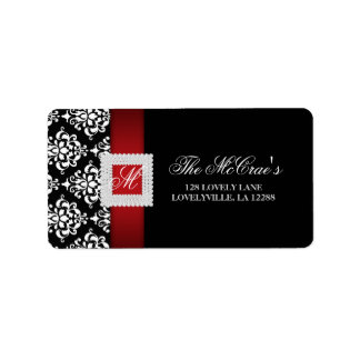 Elegant Xmas Wedding Label Jewels Red Black White Address Label