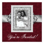 Elegant Xmas Wedding Photo Template Jewels Red Card