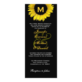 Elegant Yellow and Black Sunflower Wedding Card