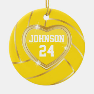 Elegant Yellow and Gold Volleyball Ceramic Ornament