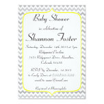 Elegant Yellow and Gray Chevron Baby Shower 5x7 Paper Invitation Card