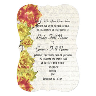 Elegant yellow and orange country floral wedding card