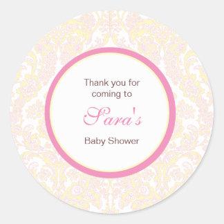 Elegant Yellow and Pink Damask Favor Sticker