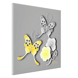 Elegant Yellow And Silver Butterflies And Roses Gallery Wrap Canvas