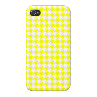 Elegant Yellow and White Houndstooth Design iPhone 4/4S Cases