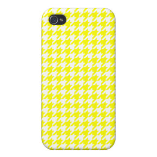 Elegant Yellow and White Houndstooth Design iPhone 4/4S Covers