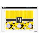 """Elegant Yellow & Black Bee 15"""" Laptop Skin"""