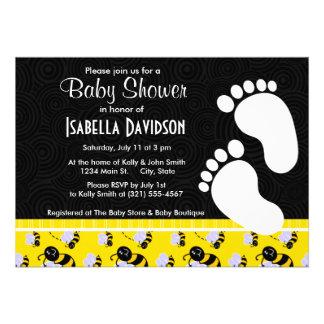 Elegant Yellow & Black Bee Personalized Invitation