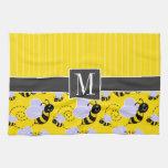 Elegant Yellow & Black Bee Kitchen Towels