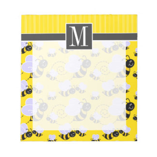 Elegant Yellow & Black Bee Memo Notepads