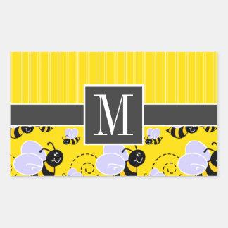 Elegant Yellow & Black Bee Rectangular Sticker