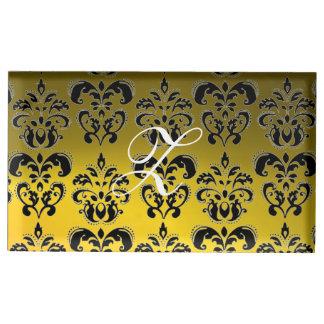 elegant yellow black white classy damask monogram place card holder