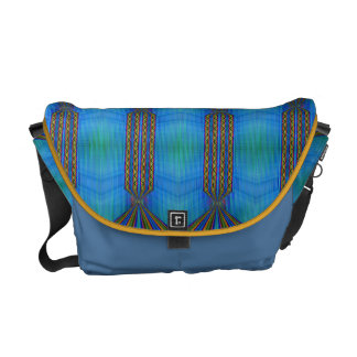 Elegant Yellow blue green pattern Courier Bag