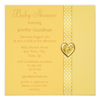 Elegant Yellow Bow & Heart Jewels Baby Shower 5.25x5.25 Square Paper Invitation Card