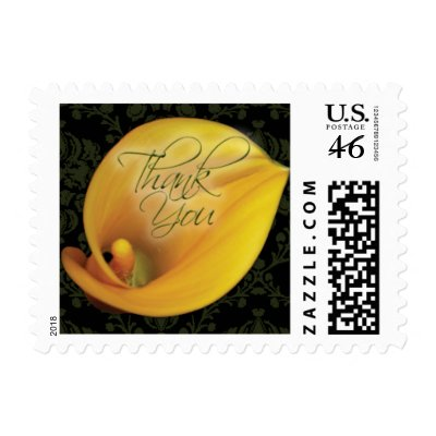 Elegant Yellow Calla Lily Thank You Small Postage by twoheartsshoppe