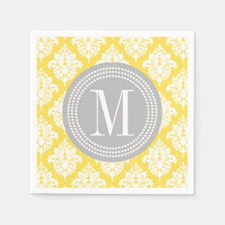 Elegant Yellow Damask Personalized Disposable Napkins