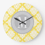 Elegant Yellow Damask Personalized Wallclock