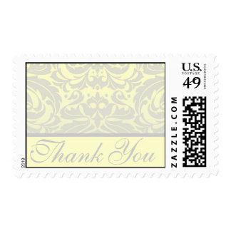 Elegant Yellow Damask Thank You Postage Stamp