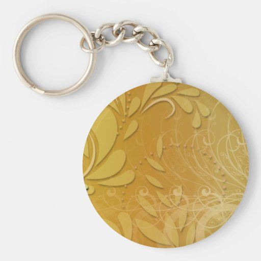 Elegant yellow floral and pink blossom basic round button keychain