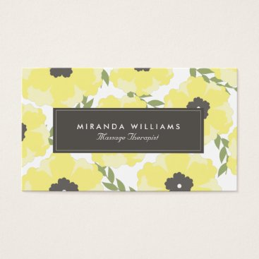Professional Business Elegant Yellow Floral Business Cards