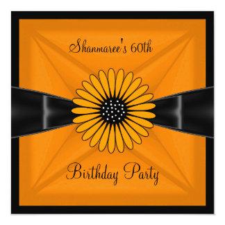 Elegant Yellow Flower Black 60th Birthday Party Card