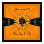 Elegant Yellow Flower Black 60th Birthday Party Custom Announcements