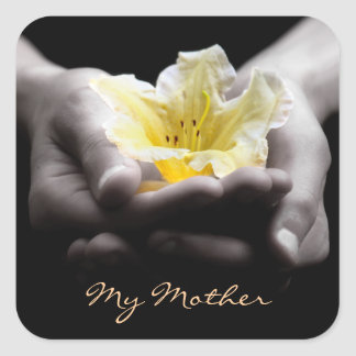Elegant Yellow Flower in Hands For Mother Square Sticker