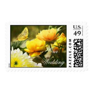 Elegant Yellow Flowers & Butterfly Wedding Stamp