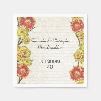 Elegant yellow flowers country floral wedding standard cocktail napkin