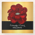 """Elegant Yellow Gold &amp; Black Red Flower Wedding Glass Coaster<br><div class=""""desc"""">Gorgeous wedding glass coasters favors with bride&#39;s and groom&#39;s names and last name. Deep red flower with black and gold background.  Editable template - Add your information.  Perfect gifts for your guests!</div>"""