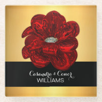 Elegant Yellow Gold & Black Red Flower Wedding Glass Coaster