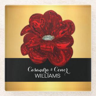Elegant Yellow Gold & Black Red Flower Wedding Glass Coaster